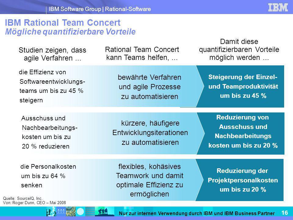 IBM Software Group   Rational-Software 16 Nur zur internen Verwendung durch IBM und IBM Business Partner Studien zeigen, dass agile Verfahren... Ratio