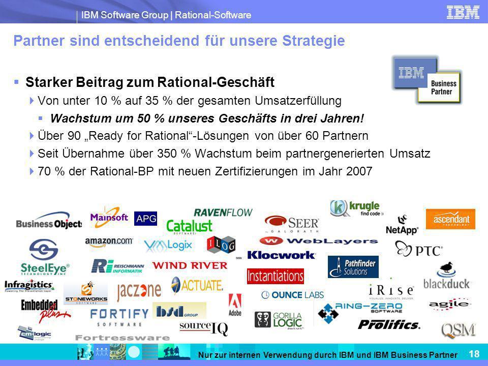 IBM Software Group | Rational-Software 18 Nur zur internen Verwendung durch IBM und IBM Business Partner Partner sind entscheidend für unsere Strategie Starker Beitrag zum Rational-Geschäft Von unter 10 % auf 35 % der gesamten Umsatzerfüllung Wachstum um 50 % unseres Geschäfts in drei Jahren.