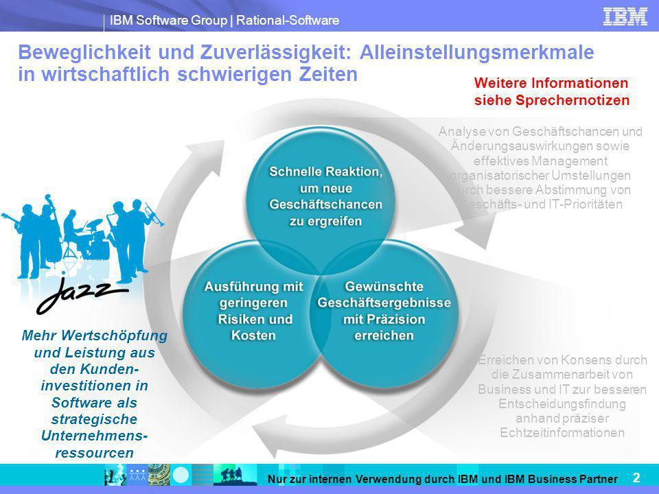 IBM Software Group   Rational-Software 2 Nur zur internen Verwendung durch IBM und IBM Business Partner Beweglichkeit und Zuverlässigkeit: Alleinstell