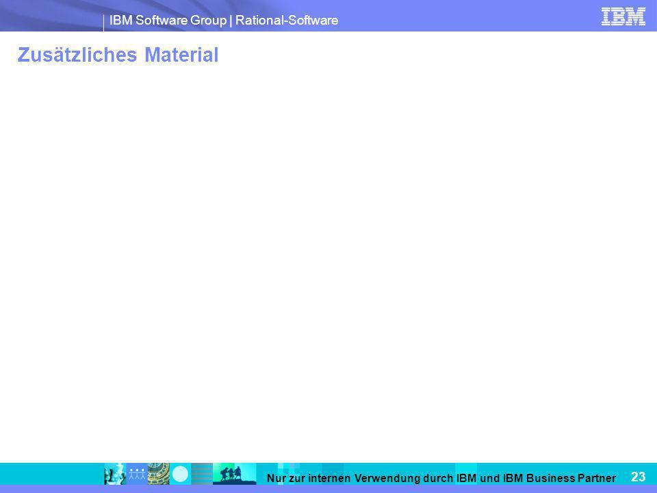IBM Software Group   Rational-Software 23 Nur zur internen Verwendung durch IBM und IBM Business Partner Zusätzliches Material