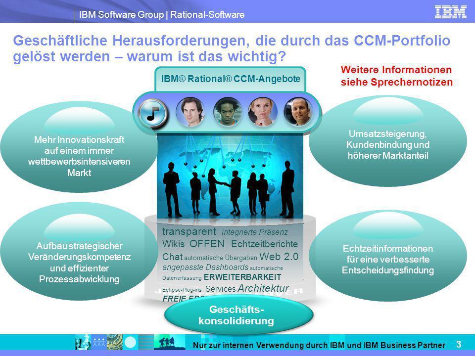 IBM Software Group | Rational-Software 3 Nur zur internen Verwendung durch IBM und IBM Business Partner Geschäftliche Herausforderungen, die durch das CCM-Portfolio gelöst werden – warum ist das wichtig.