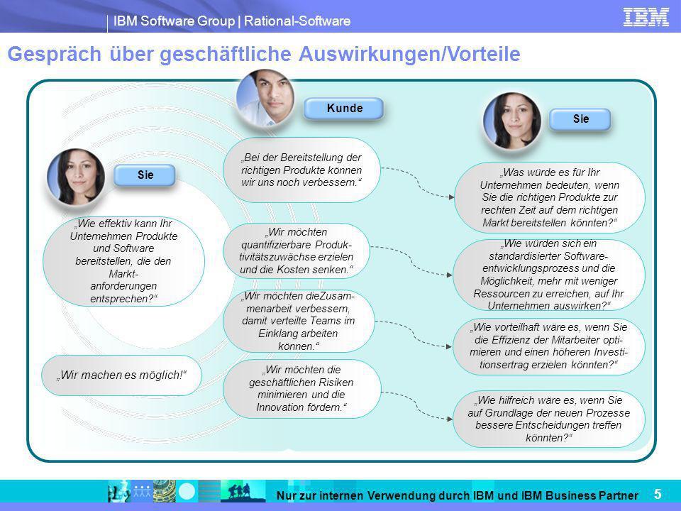 IBM Software Group   Rational-Software 5 Nur zur internen Verwendung durch IBM und IBM Business Partner Gespräch über geschäftliche Auswirkungen/Vorte