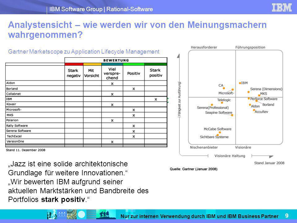 IBM Software Group   Rational-Software 9 Nur zur internen Verwendung durch IBM und IBM Business Partner Analystensicht – wie werden wir von den Meinun
