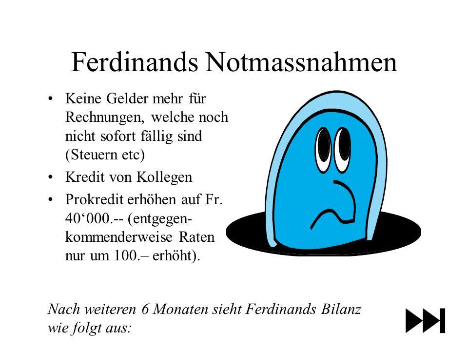 Ferdinands Notmassnahmen Keine Gelder mehr für Rechnungen, welche noch nicht sofort fällig sind (Steuern etc) Kredit von Kollegen Prokredit erhöhen auf Fr.