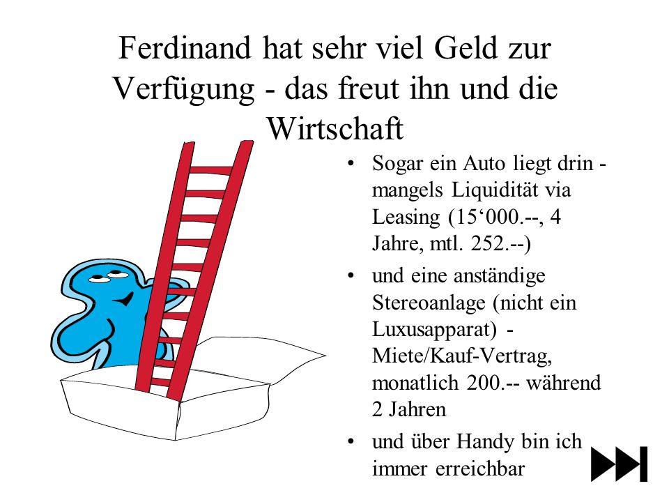 Ferdinand hat sehr viel Geld zur Verfügung - das freut ihn und die Wirtschaft Sogar ein Auto liegt drin - mangels Liquidität via Leasing (15000.--, 4 Jahre, mtl.