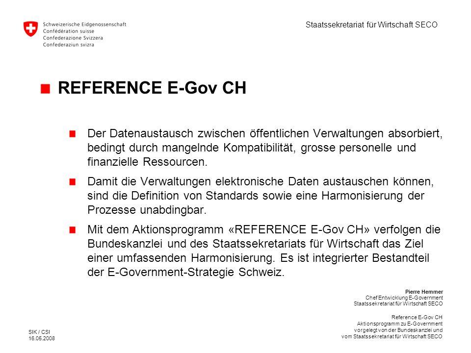 Staatssekretariat für Wirtschaft SECO SIK / CSI 16.05.2008 Reference E-Gov CH Aktionsprogramm zu E-Government vorgelegt von der Bundeskanzlei und vom Staatssekretariat für Wirtschaft SECO 6.1 Strategie, Methodik und Instrumente 1.Umsetzung der Strategie E-Government Schweiz 2.Entwicklung von Standards Themenkatalog Inventar der Behördenleistungen Meta-Daten Verschiedene Nomenklaturen 3.Methodik und Instrumente des Projekt-Managements