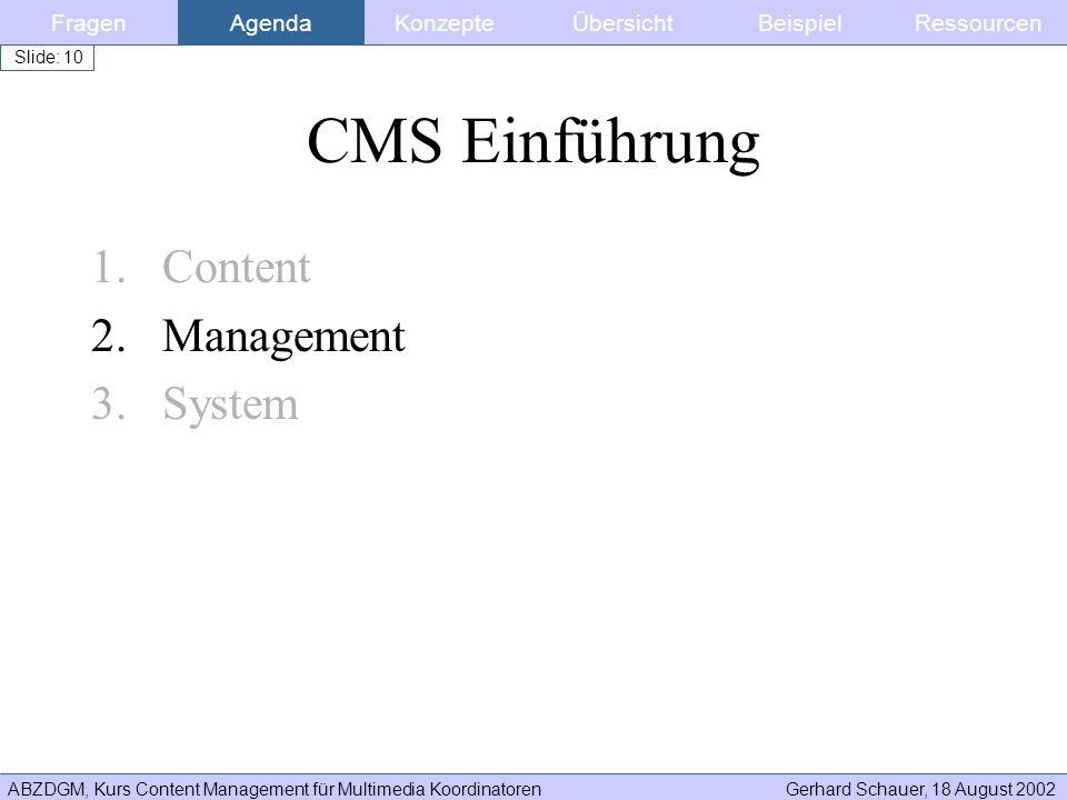ABZDGM, Kurs Content Management für Multimedia KoordinatorenGerhard Schauer, 18 August 2002 Slide: 10 CMS Einführung 1.Content 2.Management 3.System F