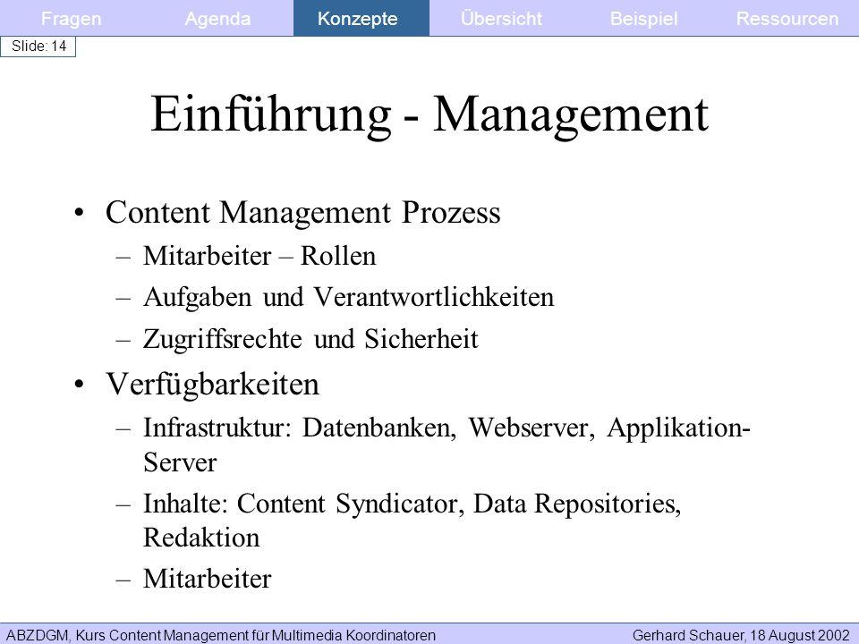 ABZDGM, Kurs Content Management für Multimedia KoordinatorenGerhard Schauer, 18 August 2002 Slide: 14 Einführung - Management Content Management Proze