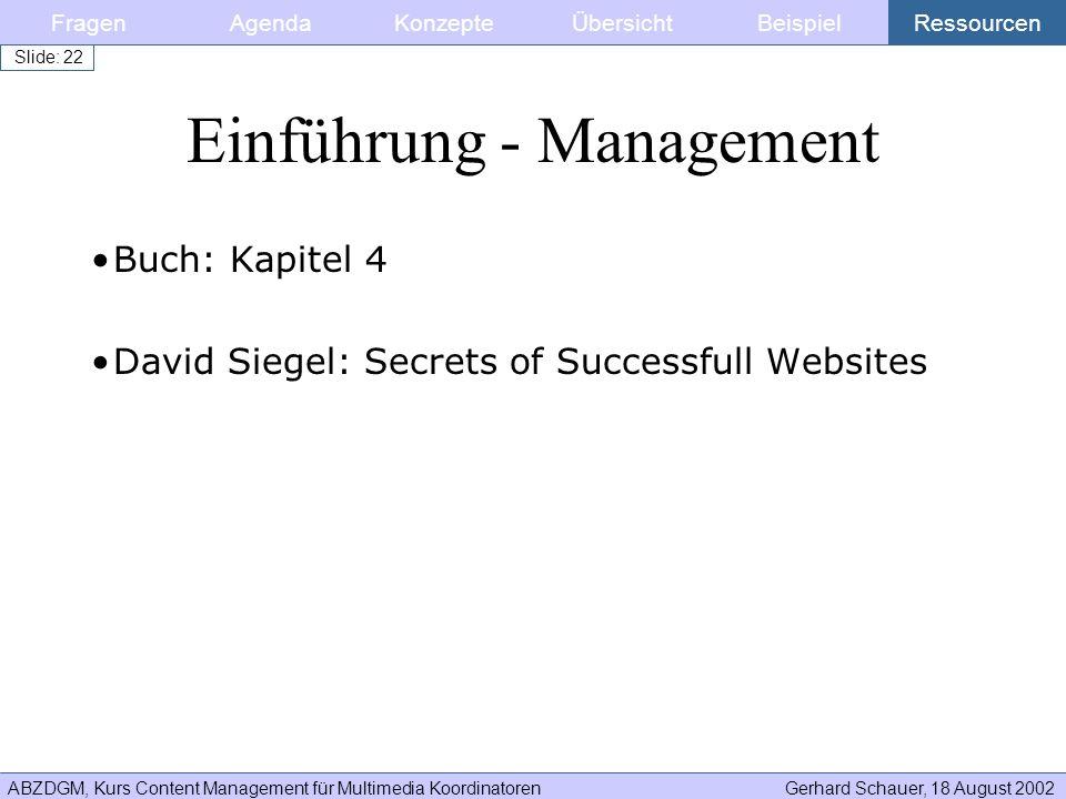 ABZDGM, Kurs Content Management für Multimedia KoordinatorenGerhard Schauer, 18 August 2002 Slide: 22 Buch: Kapitel 4 David Siegel: Secrets of Success