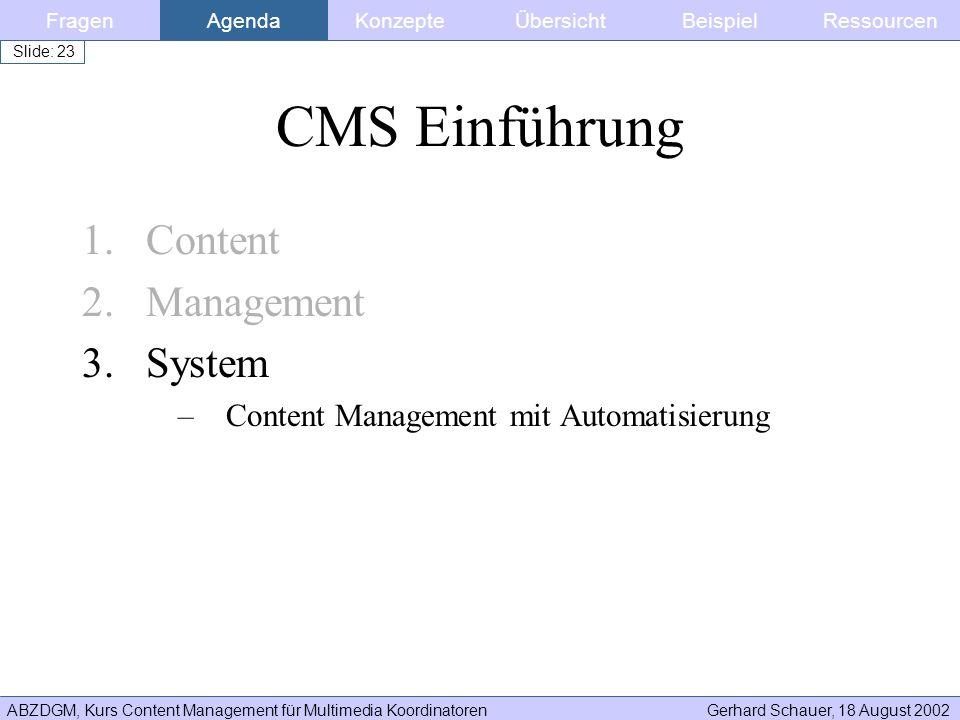 ABZDGM, Kurs Content Management für Multimedia KoordinatorenGerhard Schauer, 18 August 2002 Slide: 23 CMS Einführung 1.Content 2.Management 3.System –