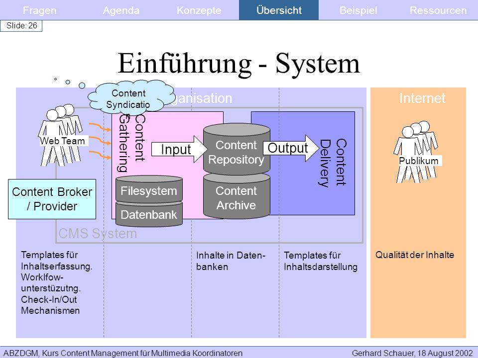 ABZDGM, Kurs Content Management für Multimedia KoordinatorenGerhard Schauer, 18 August 2002 Slide: 26 FragenKonzepteAgendaÜbersichtBeispielRessourcen