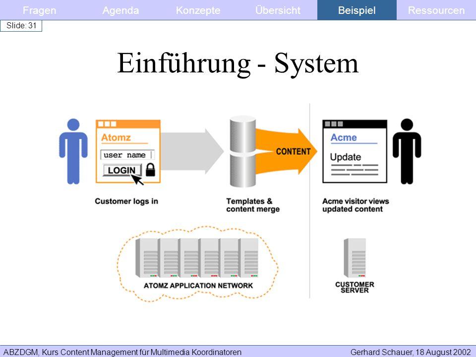 ABZDGM, Kurs Content Management für Multimedia KoordinatorenGerhard Schauer, 18 August 2002 Slide: 31 FragenKonzepteAgendaÜbersichtBeispielRessourcen