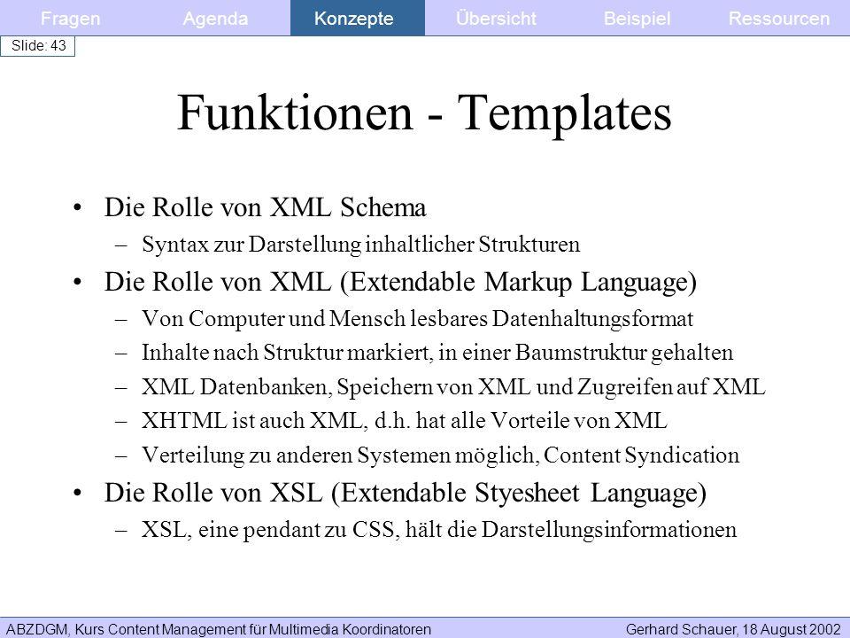 ABZDGM, Kurs Content Management für Multimedia KoordinatorenGerhard Schauer, 18 August 2002 Slide: 43 Funktionen - Templates Die Rolle von XML Schema