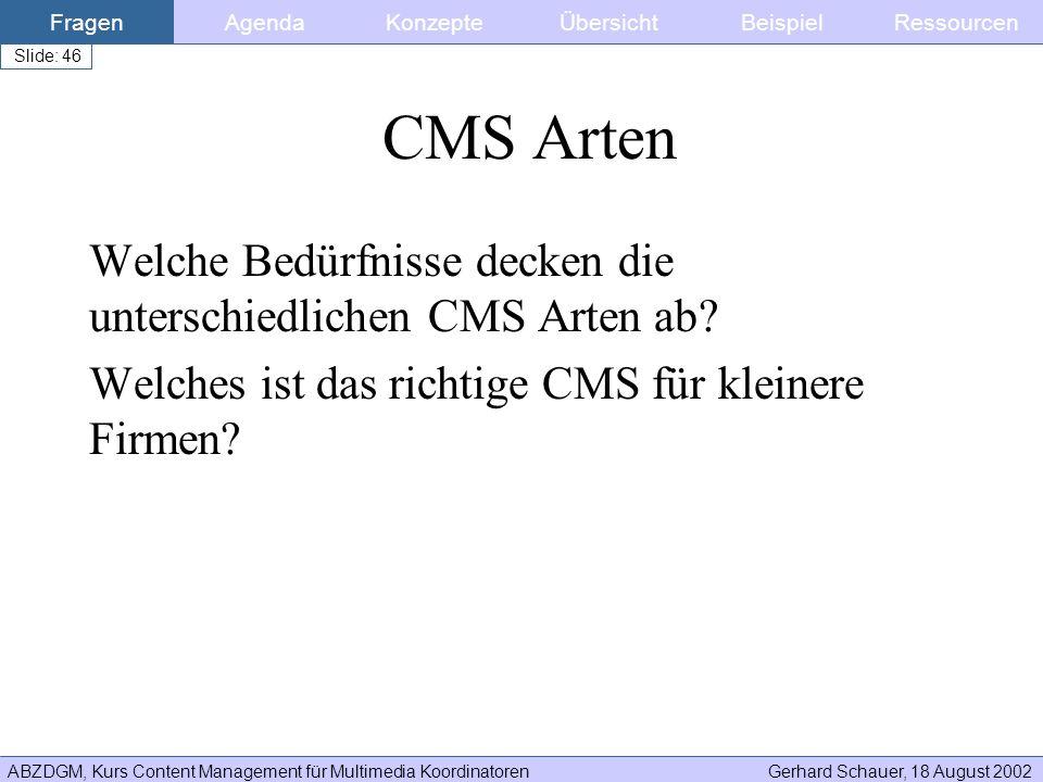ABZDGM, Kurs Content Management für Multimedia KoordinatorenGerhard Schauer, 18 August 2002 Slide: 46 CMS Arten Welche Bedürfnisse decken die untersch