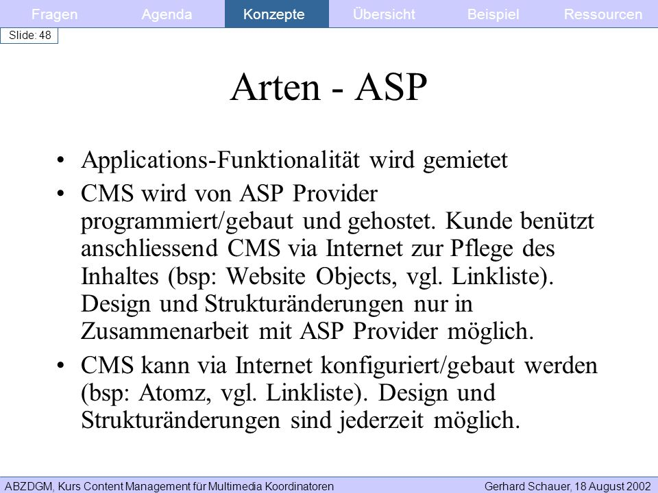 ABZDGM, Kurs Content Management für Multimedia KoordinatorenGerhard Schauer, 18 August 2002 Slide: 48 Arten - ASP Applications-Funktionalität wird gem