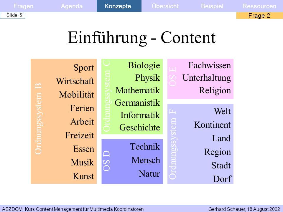 ABZDGM, Kurs Content Management für Multimedia KoordinatorenGerhard Schauer, 18 August 2002 Slide: 5 Einführung - Content Technik Mensch Natur Biologi