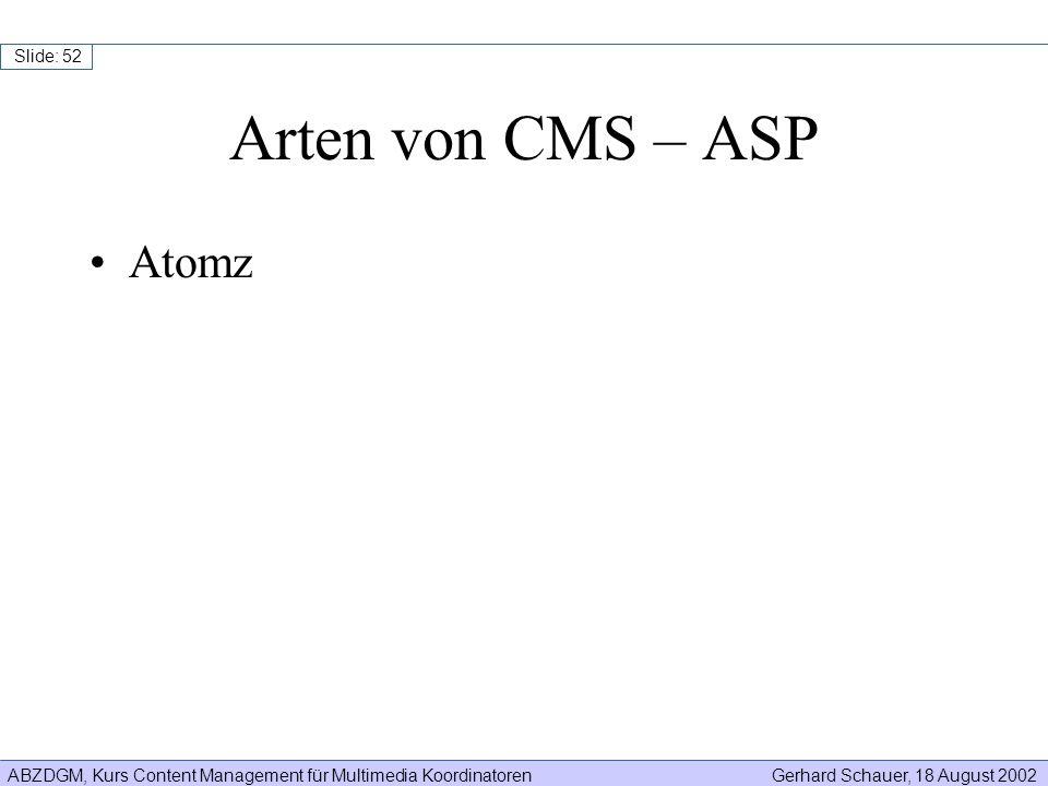 ABZDGM, Kurs Content Management für Multimedia KoordinatorenGerhard Schauer, 18 August 2002 Slide: 52 Arten von CMS – ASP Atomz