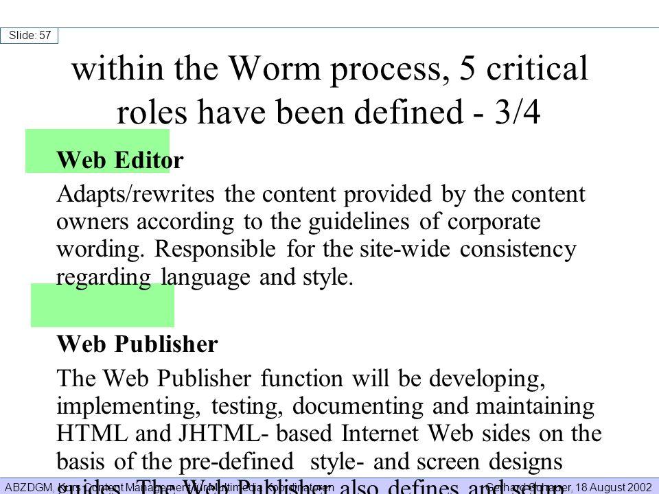ABZDGM, Kurs Content Management für Multimedia KoordinatorenGerhard Schauer, 18 August 2002 Slide: 57 Web Editor Adapts/rewrites the content provided