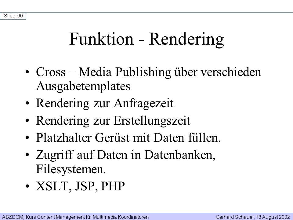 ABZDGM, Kurs Content Management für Multimedia KoordinatorenGerhard Schauer, 18 August 2002 Slide: 60 Funktion - Rendering Cross – Media Publishing üb