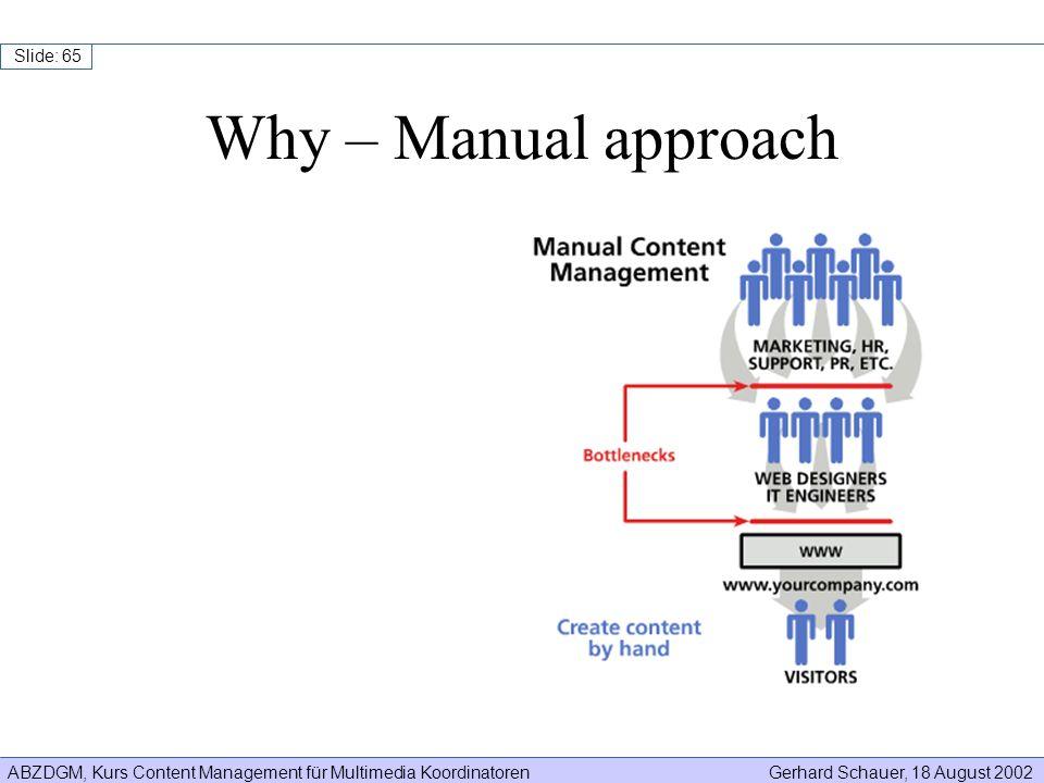 ABZDGM, Kurs Content Management für Multimedia KoordinatorenGerhard Schauer, 18 August 2002 Slide: 65 Why – Manual approach