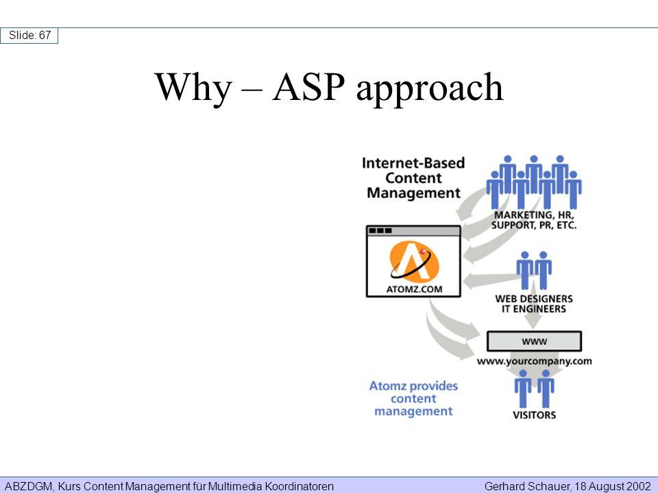 ABZDGM, Kurs Content Management für Multimedia KoordinatorenGerhard Schauer, 18 August 2002 Slide: 67 Why – ASP approach