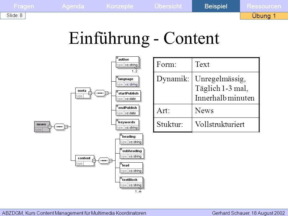 ABZDGM, Kurs Content Management für Multimedia KoordinatorenGerhard Schauer, 18 August 2002 Slide: 8 FragenKonzepteAgendaÜbersichtBeispielRessourcen Ü