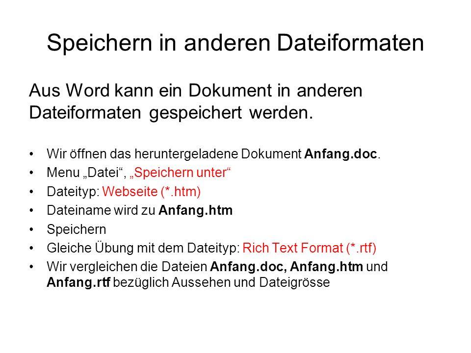 Speichern in anderen Dateiformaten Wir öffnen das heruntergeladene Dokument Anfang.doc. Menu Datei, Speichern unter Dateityp: Webseite (*.htm) Dateina