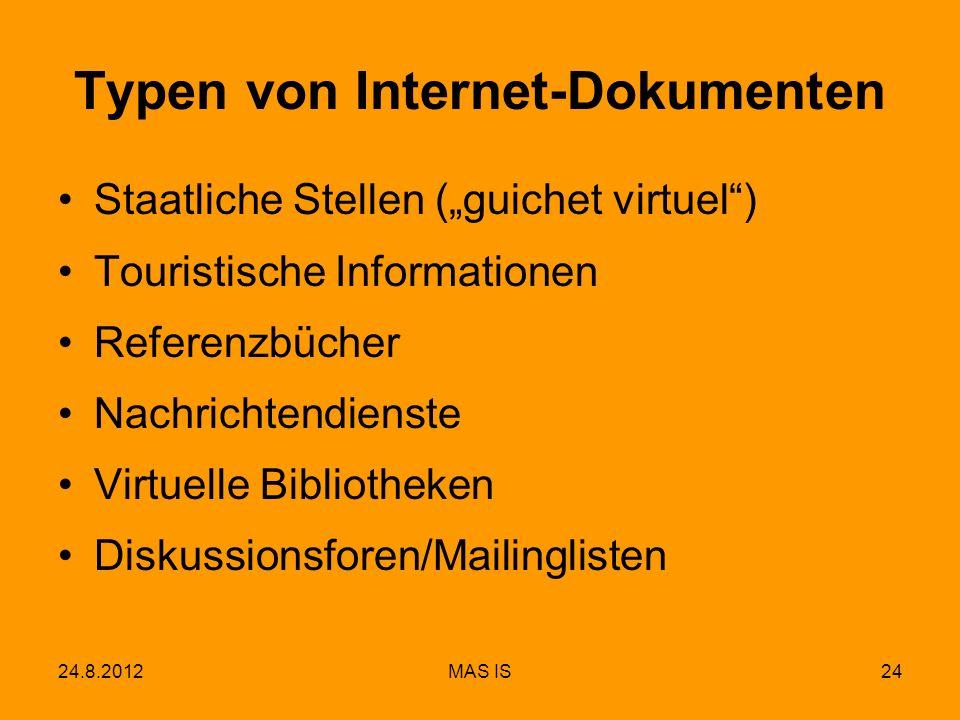 24.8.2012MAS IS24 Typen von Internet-Dokumenten Staatliche Stellen (guichet virtuel) Touristische Informationen Referenzbücher Nachrichtendienste Virt
