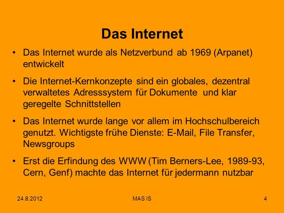 24.8.2012MAS IS5 Unterschied statische/dynamische Webseite Statische Webseite Die Webseite ist auf dem Webserver fertig gespeichert als HTML-Text Dynamische Webseite Der Inhalt wird beim Aufruf erzeugt, z.B.