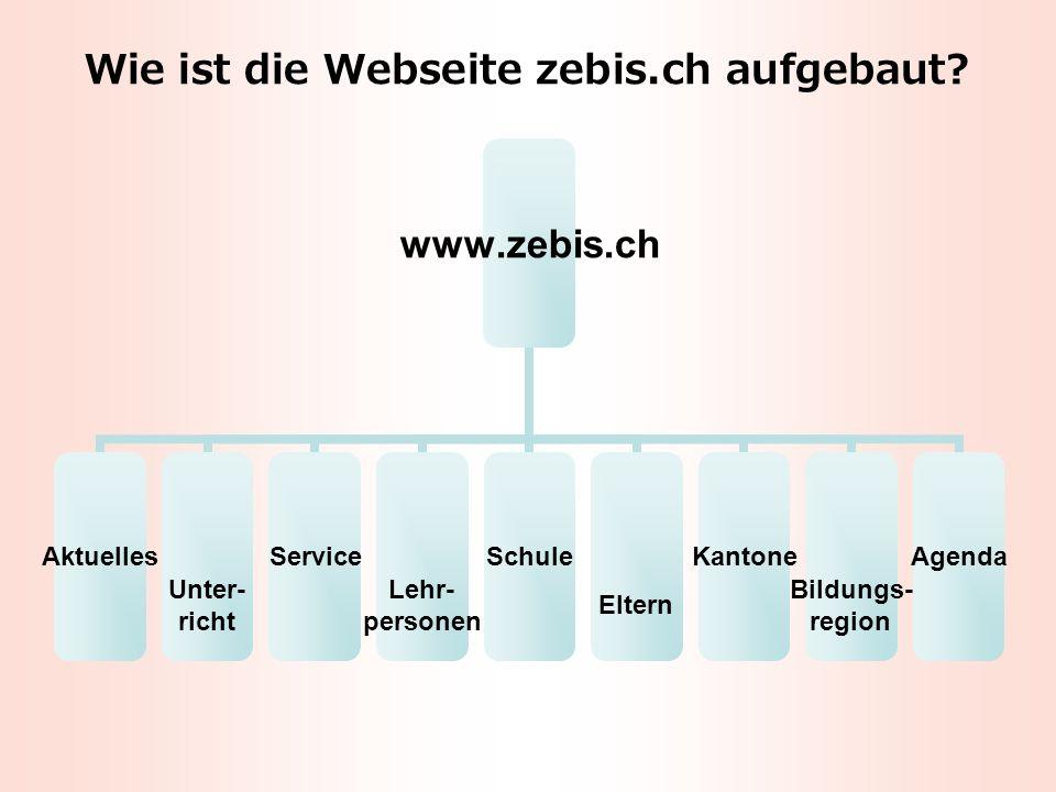 Wie ist die Webseite zebis.ch aufgebaut.
