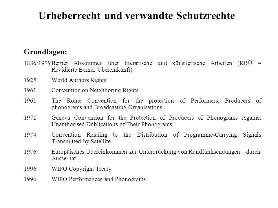 Urheberrecht und verwandte Schutzrechte Grundlagen: 1886/1979Berner Abkommen über literarische und künstlerische Arbeiten (RBÜ = Revidierte Berner Übe