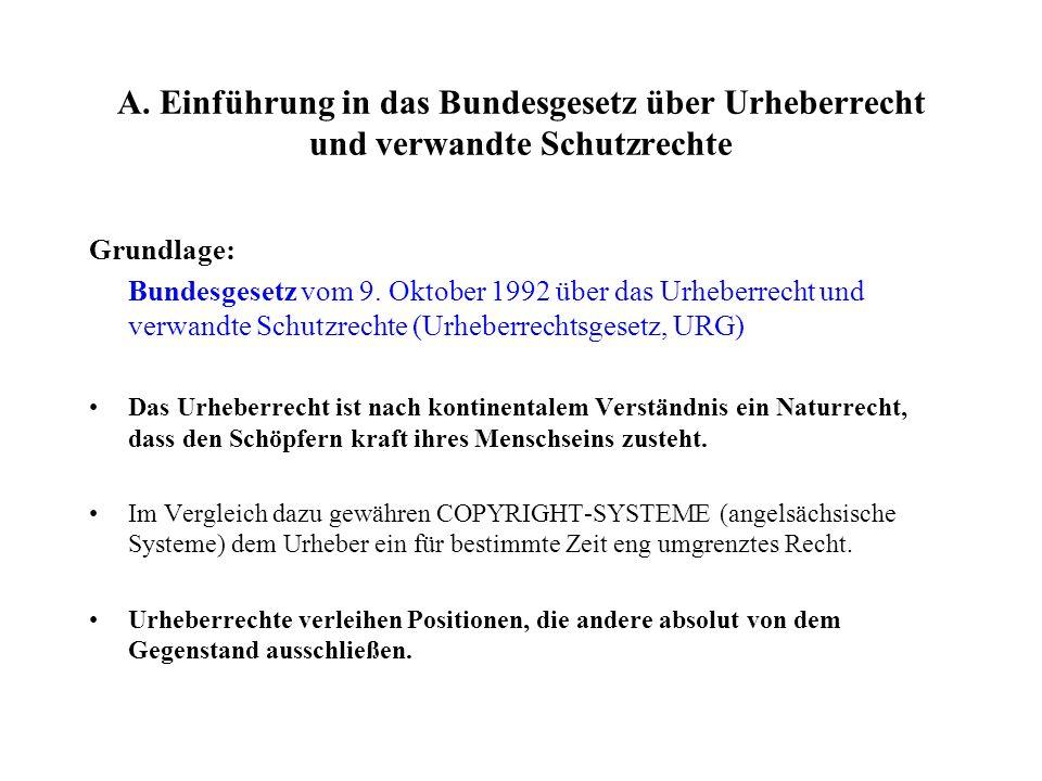 A. Einführung in das Bundesgesetz über Urheberrecht und verwandte Schutzrechte Grundlage: Bundesgesetz vom 9. Oktober 1992 über das Urheberrecht und v