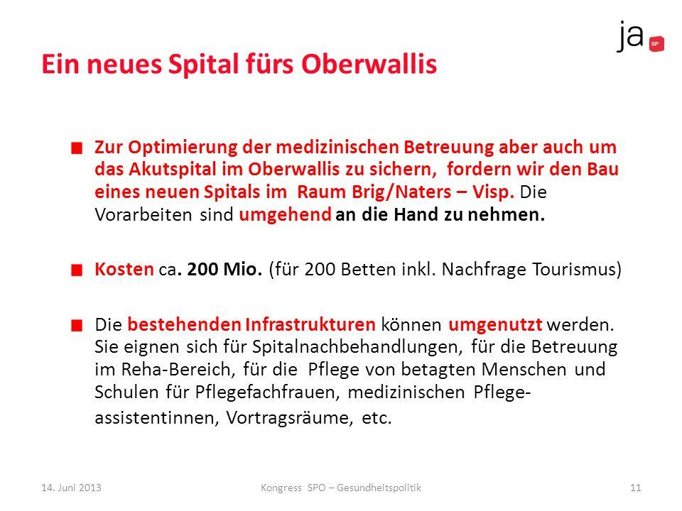 Ein neues Spital fürs Oberwallis Zur Optimierung der medizinischen Betreuung aber auch um das Akutspital im Oberwallis zu sichern, fordern wir den Bau