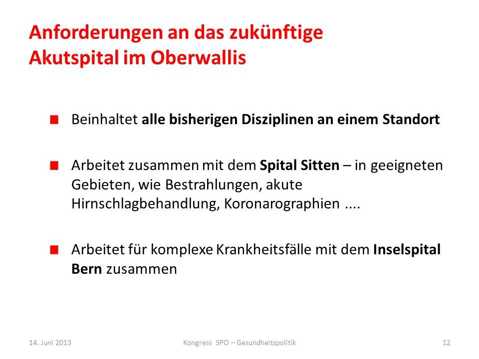 Anforderungen an das zukünftige Akutspital im Oberwallis Beinhaltet alle bisherigen Disziplinen an einem Standort Arbeitet zusammen mit dem Spital Sit