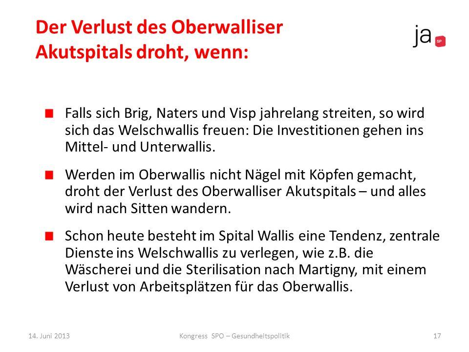 Der Verlust des Oberwalliser Akutspitals droht, wenn: Falls sich Brig, Naters und Visp jahrelang streiten, so wird sich das Welschwallis freuen: Die I