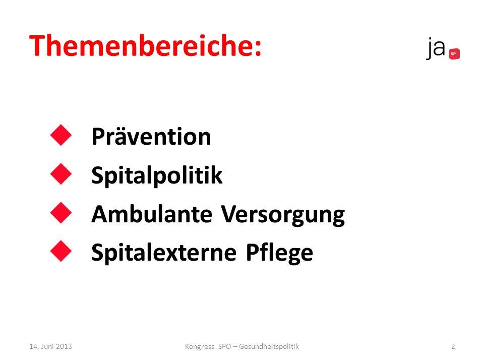 Themenbereiche: Prävention Spitalpolitik Ambulante Versorgung Spitalexterne Pflege 14. Juni 2013Kongress SPO – Gesundheitspolitik2