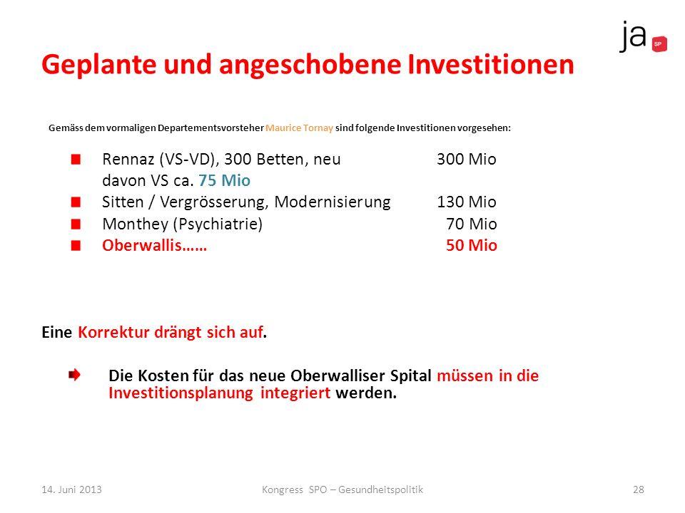 Geplante und angeschobene Investitionen Gemäss dem vormaligen Departementsvorsteher Maurice Tornay sind folgende Investitionen vorgesehen: Rennaz (VS-