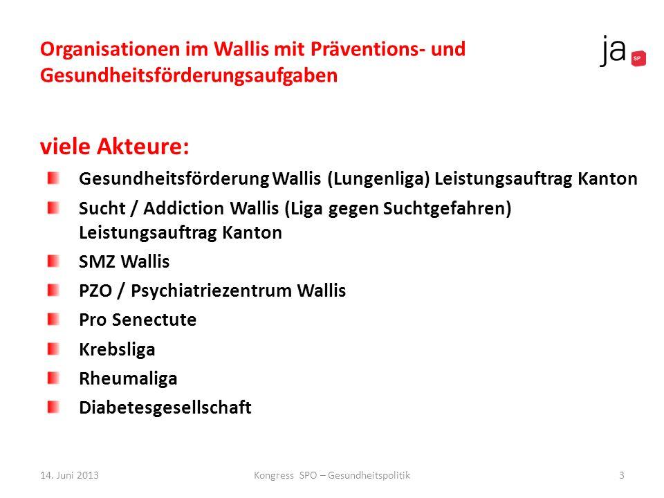 Organisationen im Wallis mit Präventions- und Gesundheitsförderungsaufgaben viele Akteure: Gesundheitsförderung Wallis (Lungenliga) Leistungsauftrag K