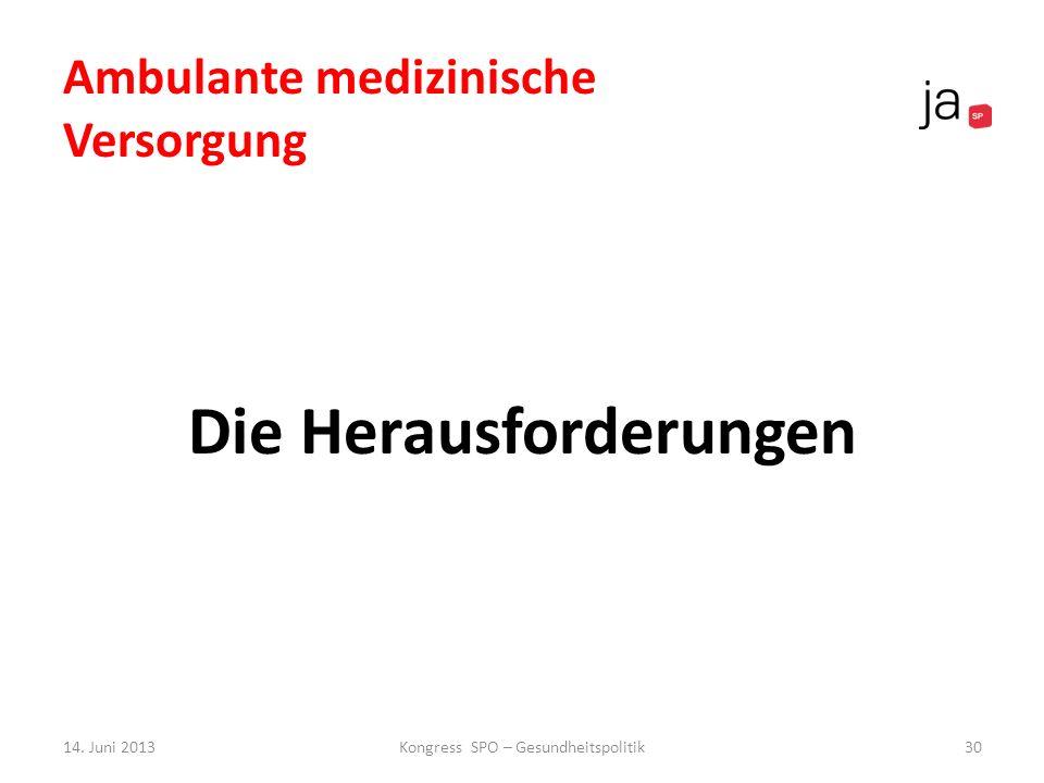 Die Herausforderungen 14. Juni 2013Kongress SPO – Gesundheitspolitik30 Ambulante medizinische Versorgung