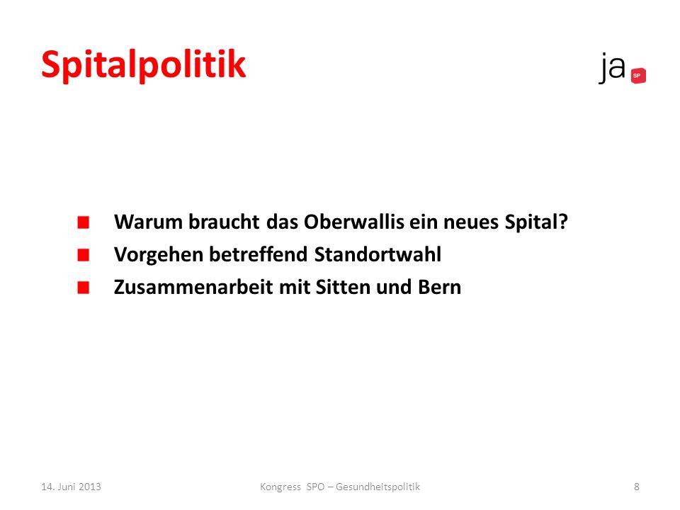 Spitalpolitik Warum braucht das Oberwallis ein neues Spital? Vorgehen betreffend Standortwahl Zusammenarbeit mit Sitten und Bern 14. Juni 2013Kongress