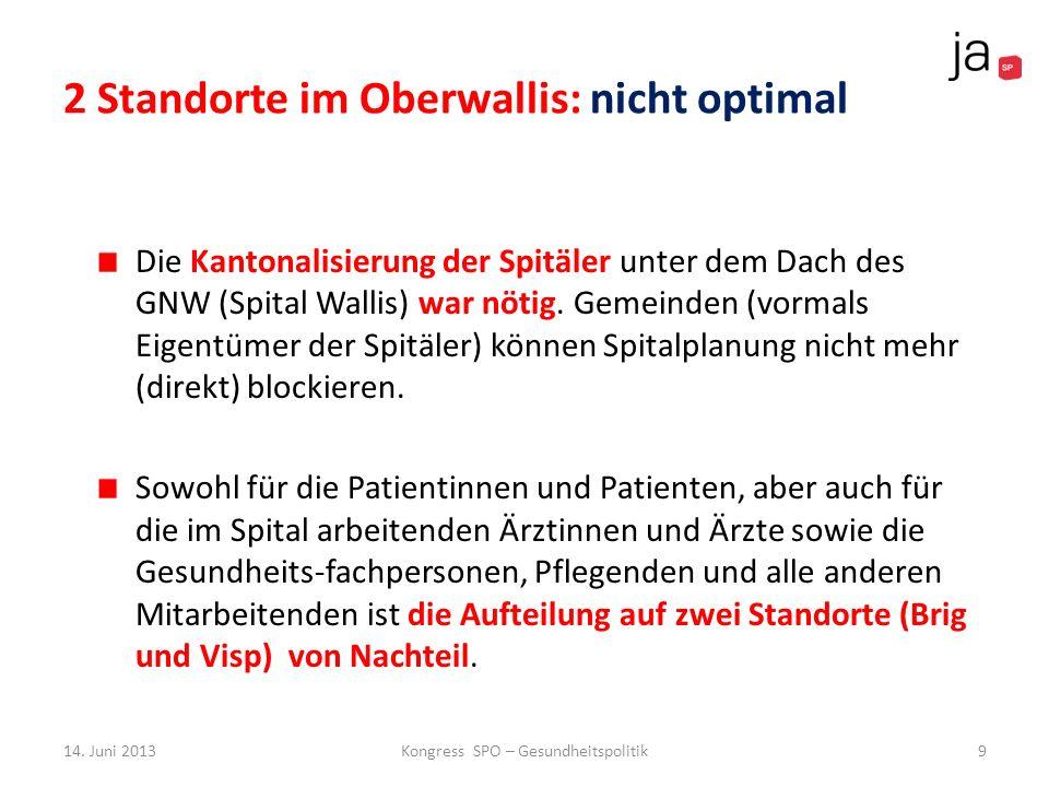 2 Standorte im Oberwallis: nicht optimal Die Kantonalisierung der Spitäler unter dem Dach des GNW (Spital Wallis) war nötig. Gemeinden (vormals Eigent