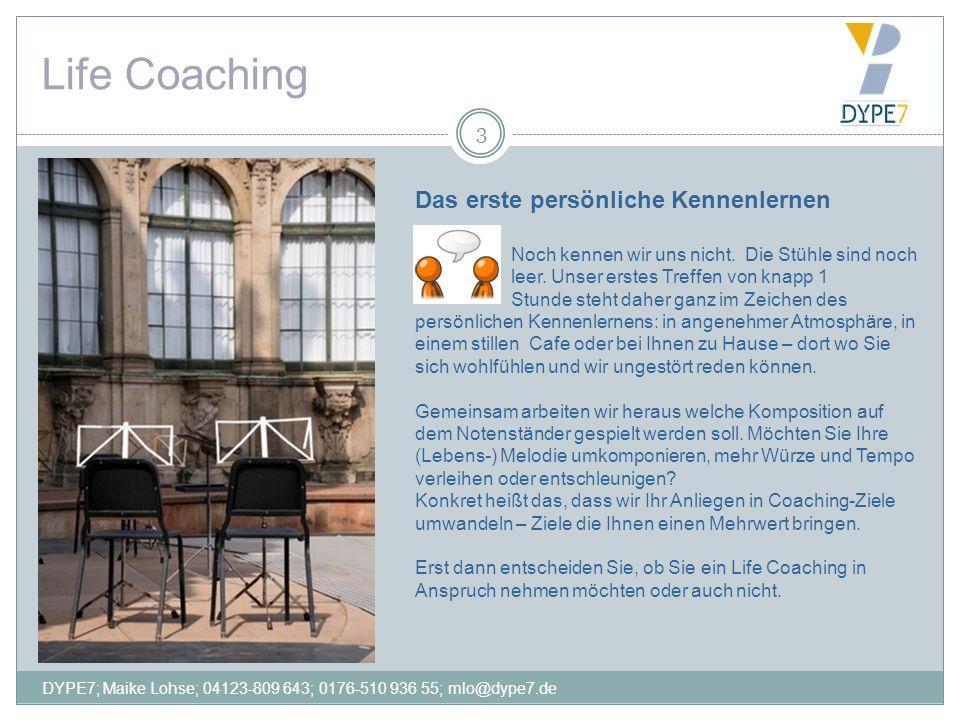 Life Coaching 3 Das erste persönliche Kennenlernen Noch kennen wir uns nicht. Die Stühle sind noch leer. Unser erstes Treffen von knapp 1 Stunde steht