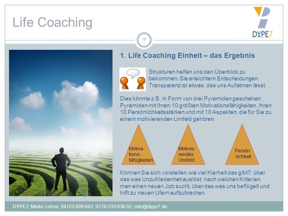 Life Coaching 7 1. Life Coaching Einheit – das Ergebnis Strukturen helfen uns den Überblick zu bekommen. Sie erleichtern Entscheidungen. Transparenz i