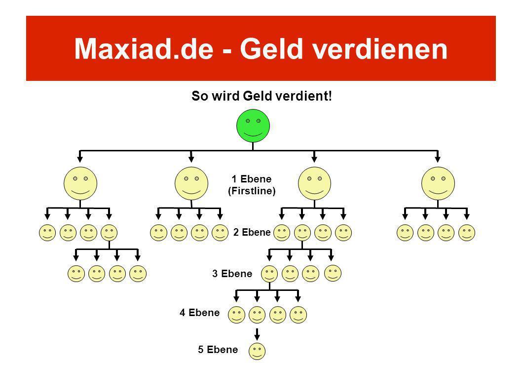 So wird Geld verdient! 1 Ebene (Firstline) 2 Ebene 3 Ebene 4 Ebene 5 Ebene Maxiad.de - Geld verdienen