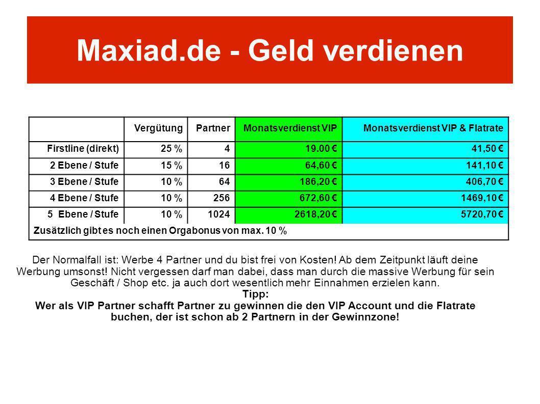 VergütungPartnerMonatsverdienst VIPMonatsverdienst VIP & Flatrate Firstline (direkt)25 %419.00 41,50 2 Ebene / Stufe15 %1664,60 141,10 3 Ebene / Stufe