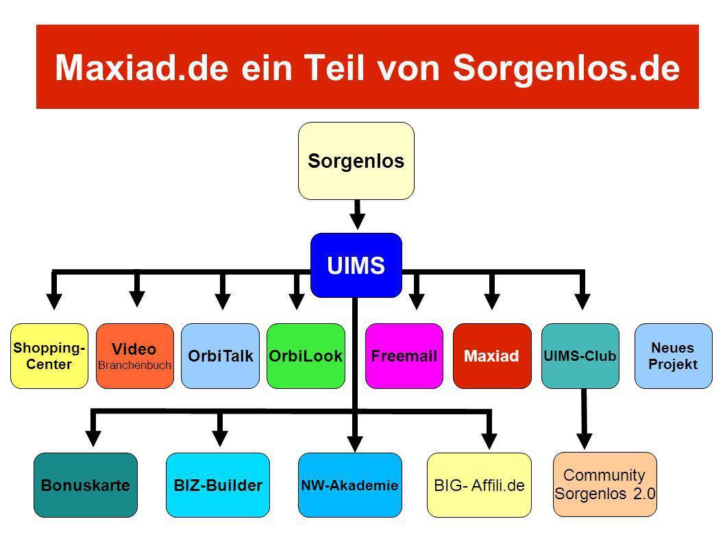 Maxiad.de ein Teil von Sorgenlos.de UIMS OrbiTalkFreemail UIMS-Club Video Branchenbuch Maxiad Shopping- Center BonuskarteBIZ-BuilderBIG- Affili.de NW-