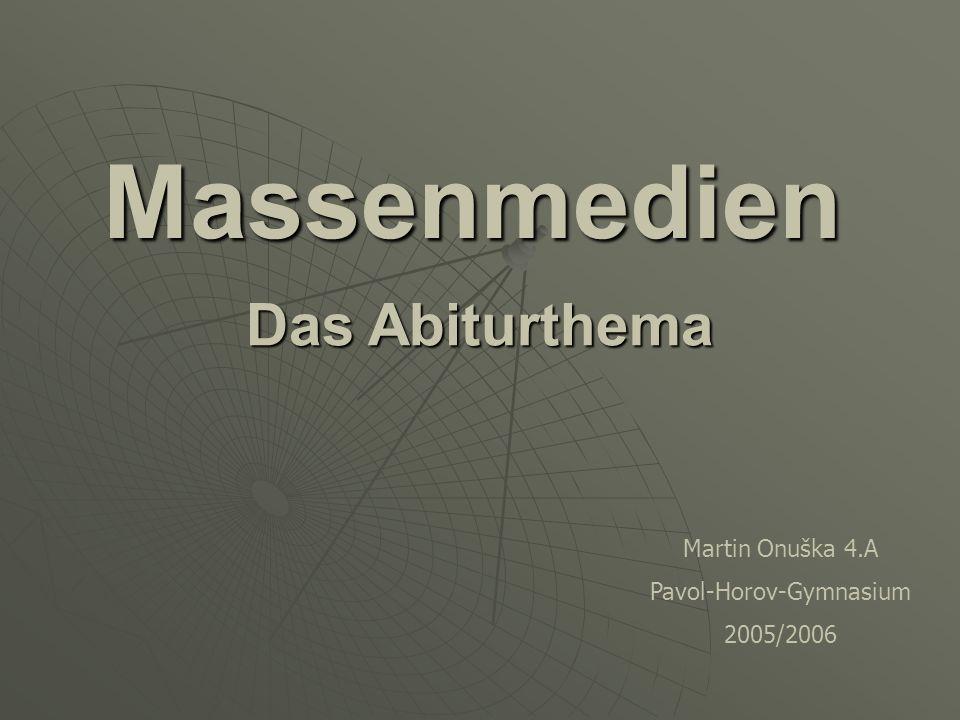 Massenmediendefinition Massenmedien sind Kommunikationsmittel, die Informationen und Unterhaltung an viele Leute vermitteln.