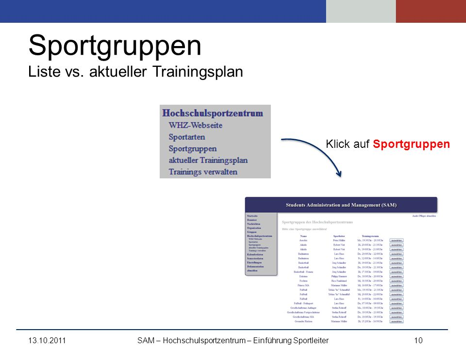 Sportgruppen Liste vs. aktueller Trainingsplan 13.10.2011SAM – Hochschulsportzentrum – Einführung Sportleiter10 Klick auf Sportgruppen