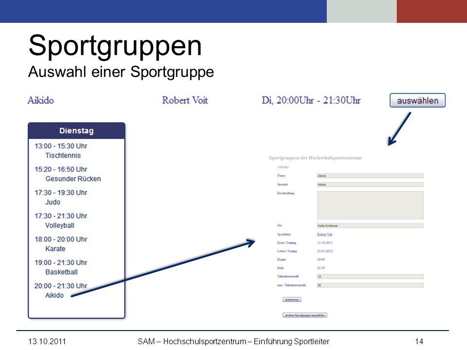 Sportgruppen Auswahl einer Sportgruppe 13.10.2011SAM – Hochschulsportzentrum – Einführung Sportleiter14