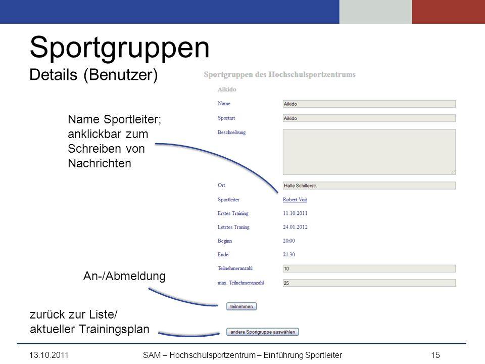 Sportgruppen Details (Benutzer) 13.10.2011SAM – Hochschulsportzentrum – Einführung Sportleiter15 Name Sportleiter; anklickbar zum Schreiben von Nachri